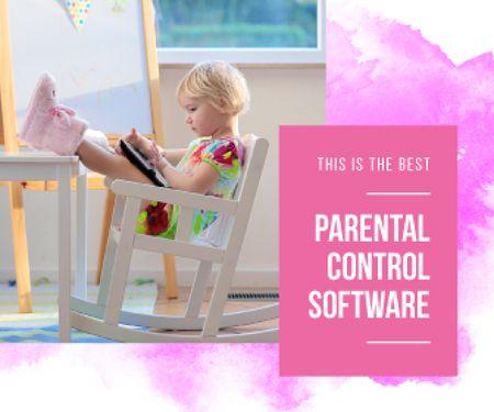 Parental Control Software Ad Girl Using Tablet Large Rectangle Design Template