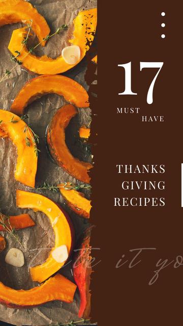 Plantilla de diseño de Roasting Thanksgiving pumpkin pieces Instagram Story
