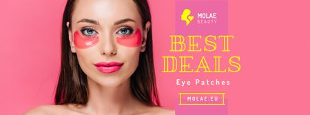 Cosmetics Ad with Woman Applying Patches in Pink Facebook cover Modelo de Design