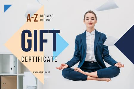 Ontwerpsjabloon van Gift Certificate van Woman Meditating at Workplace