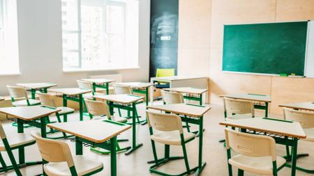 Empty light classrom Zoom Background Tasarım Şablonu