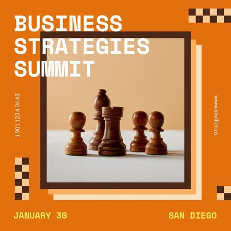 Modèle de visuel Business Strategy Conference Chess Figures - Instagram AD