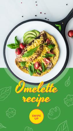 Modèle de visuel Omelet dish with Vegetables - Instagram Story