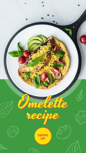 Omelet dish with Vegetables Instagram Story – шаблон для дизайну