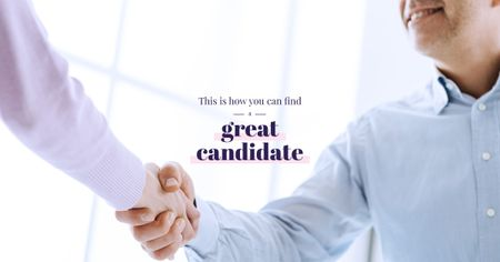 Hiring Candidate Businessmen Shaking Hands Facebook AD Modelo de Design