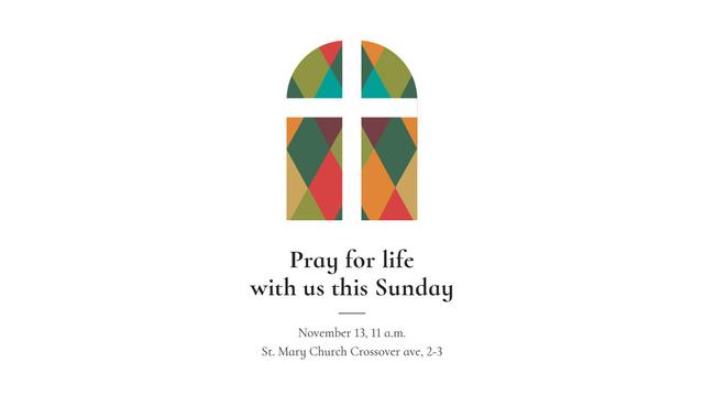Church Invitation on Stained Glass window Title Modelo de Design