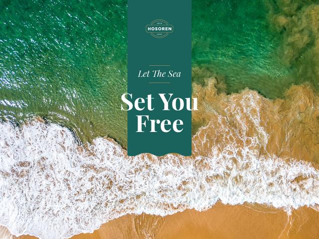 Inspirational Quote with Beautiful Sea Waves Presentation – шаблон для дизайна
