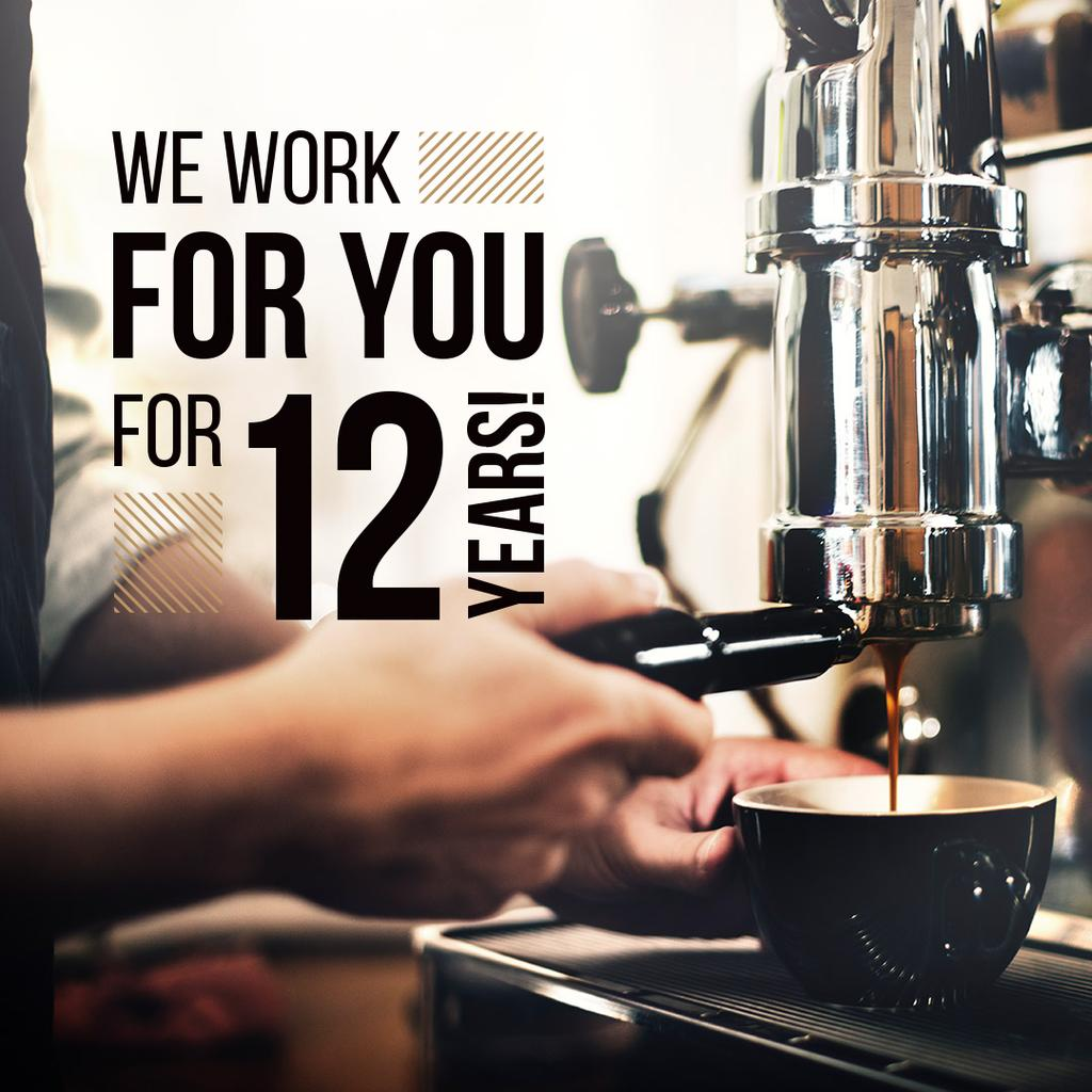 we work for you for 12 years poster for coffee house — Create a Design