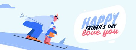 Ontwerpsjabloon van Facebook Video cover van Father and Kid Skiing on Father's Day