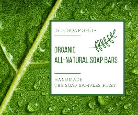 Plantilla de diseño de Organic Cosmetics Advertisement Drops on Green Leaf Medium Rectangle