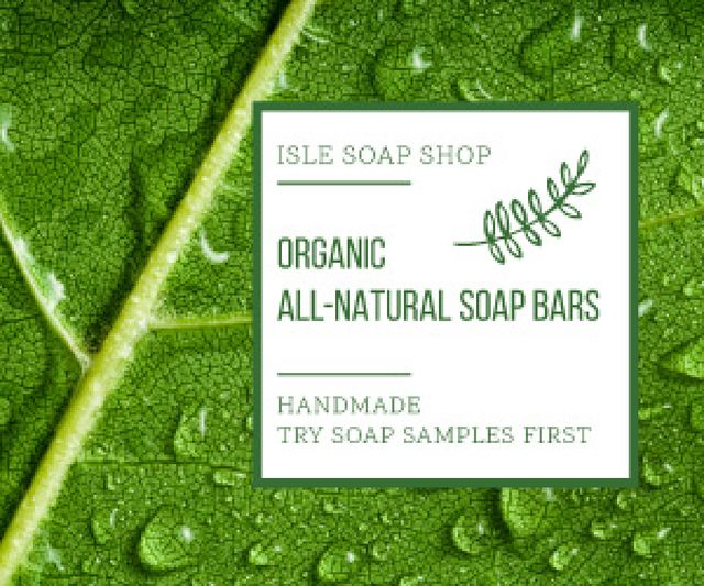 Organic Cosmetics Advertisement Drops on Green Leaf Medium Rectangle Design Template