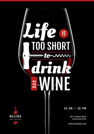 Template di design Wine Store Ad with Wineglass with Corkscrew Poster