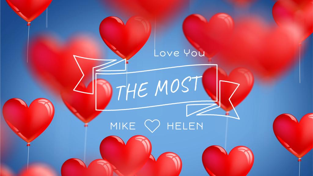Red heart-shaped Balloons for Valentine's Day — Maak een ontwerp