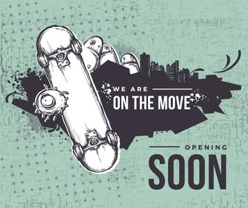 Opening soon poster with skateboard