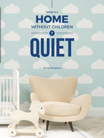 Plantilla de diseño de Cozy nursery Interior in blue Poster US