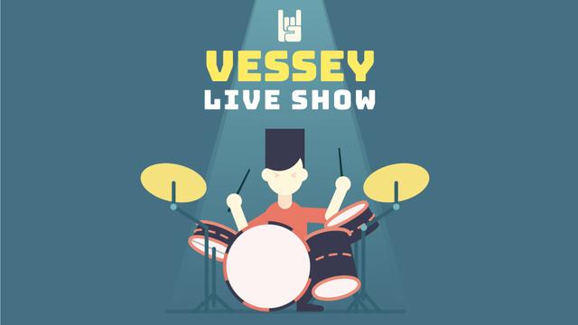 Rock Concert Invitation Star Playing Drums Full HD video Modelo de Design