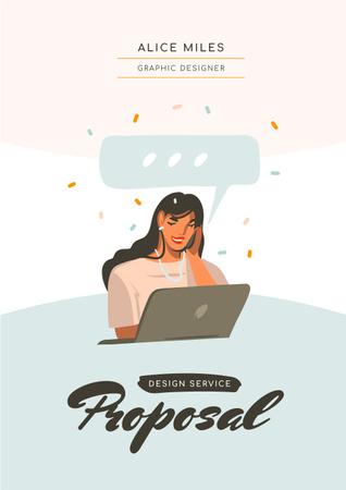 Plantilla de diseño de Designer Services offer with Woman by Laptop Proposal