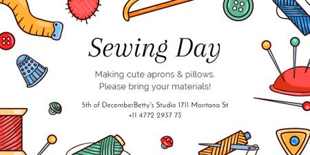 Szablon projektu Sewing day event with needlework tools Image