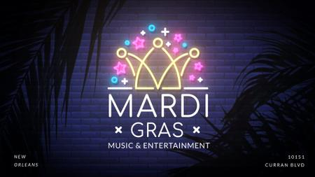 Plantilla de diseño de Mardi gras crown neon light Full HD video