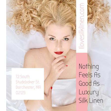 Woman resting in bed with silk linen Instagram AD – шаблон для дизайна