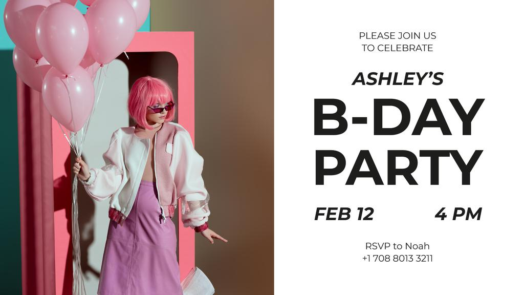 Birthday Party Invitation Girl with Pink Balloons — Crear un diseño