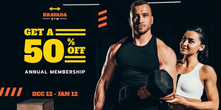 Gym Offer with Man Training with Coach Twitter Modelo de Design