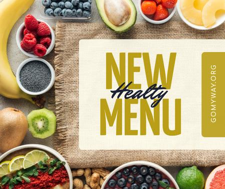 Healthy menu offer with fresh Fruits and Vegetables Facebook Modelo de Design