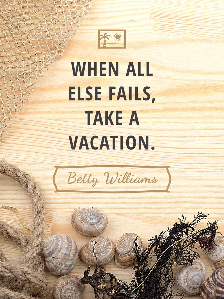 Travel inspiration with Shells on wooden background Poster US – шаблон для дизайна
