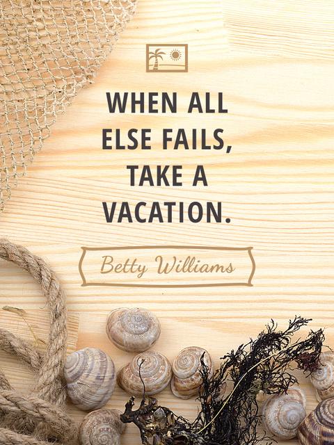 Plantilla de diseño de Travel inspiration with Shells on wooden background Poster US