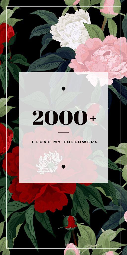 2000 followers poster on floral background — ein Design erstellen