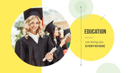 Plantilla de diseño de Smiling Girl in graduation hat Presentation Wide
