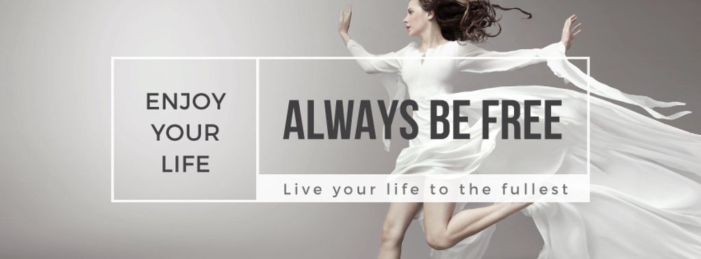 Inspiration Quote Woman Dancer Jumping | Facebook Cover Template — Modelo de projeto