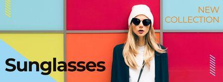 Plantilla de diseño de New collection of sunglasses Annoucement Facebook cover
