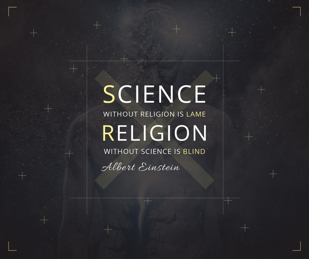Science and Religion Quote with Human Image — Crea un design