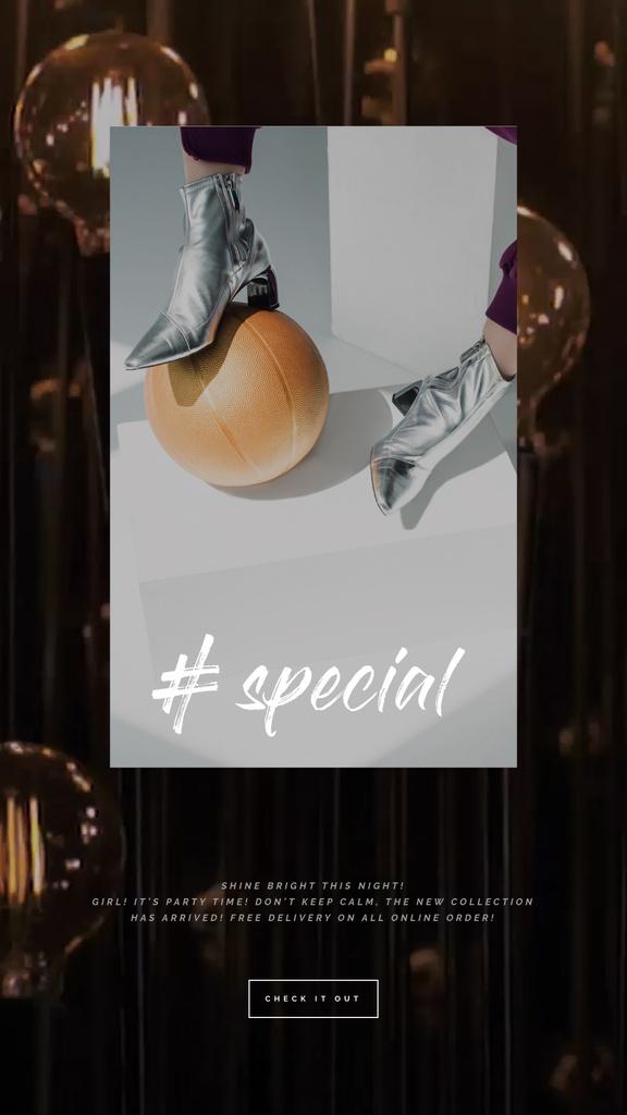 Silver Boots Ad Female Legs Lamps Background | Vertical Video Template — ein Design erstellen