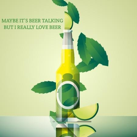 Beer bottle with lime Animated Postデザインテンプレート