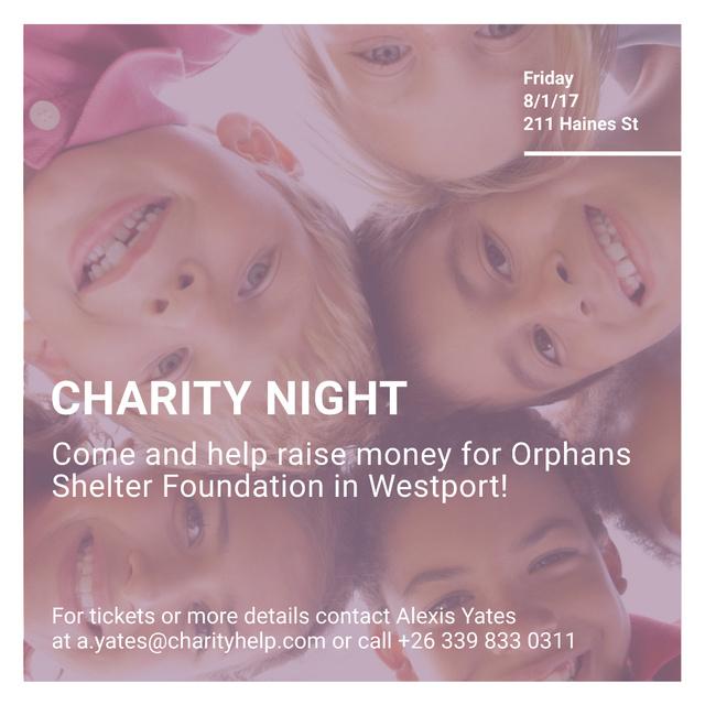 Happy kids in circle on Charity Night Instagram AD – шаблон для дизайну
