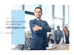 Business Quote with Confident Man at the Meeting