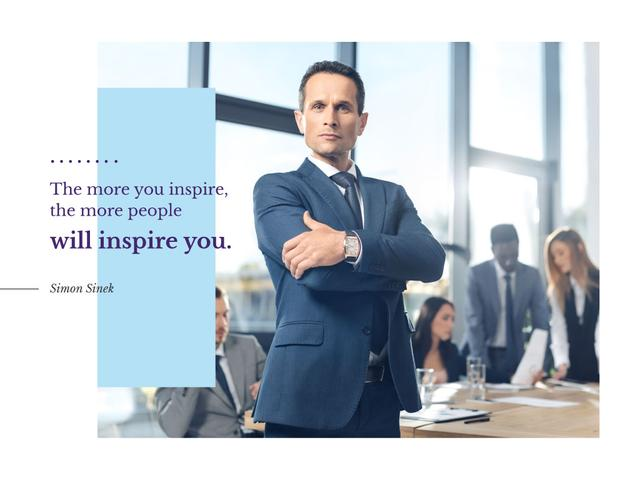 Business Quote with Confident Man at the Meeting Presentation Design Template
