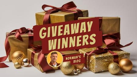 Plantilla de diseño de Blog Giveaway Promotion Presents in Golden Youtube Thumbnail