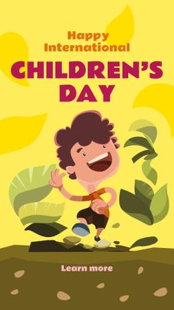 Plantilla de diseño de Boy playing outdoors on Children's Day Instagram Story
