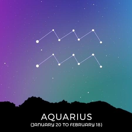 Modèle de visuel Night Sky with Aquarius Constellation - Animated Post