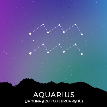Plantilla de diseño de Night Sky with Aquarius Constellation Animated Post