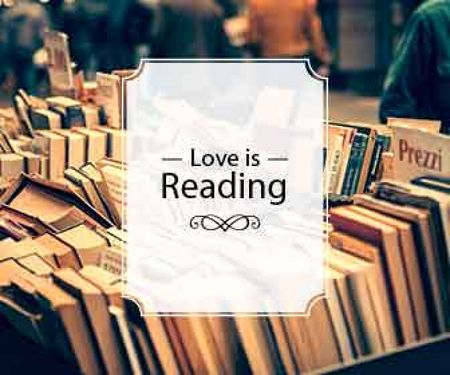 love is reading poster for bookstore Large Rectangleデザインテンプレート