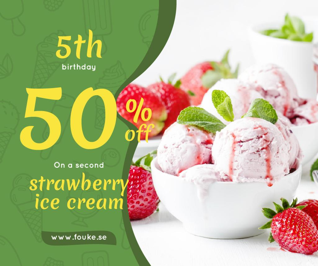 Anniversary Promotion Strawberry Ice Cream Scoops | Facebook Post Template — Створити дизайн