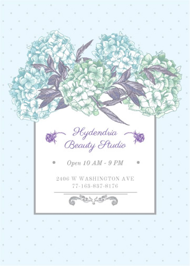 Hydrangea beauty studio advertisement — Create a Design