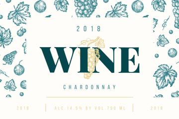 Wine ad with grapes and leaves pattern