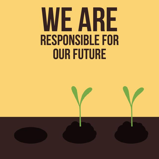 Farmer Hands Planting Seedlings Animated Post Design Template