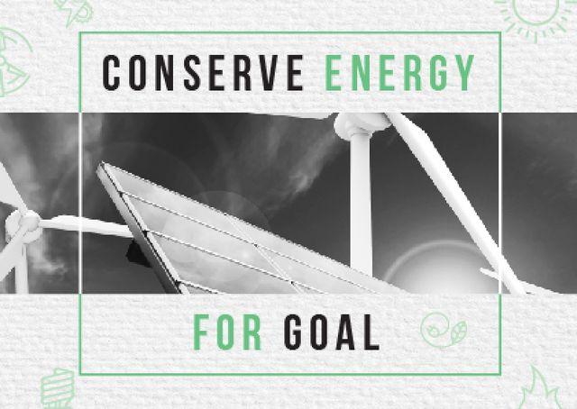 Ontwerpsjabloon van Card van Concept of Conserve energy for goal