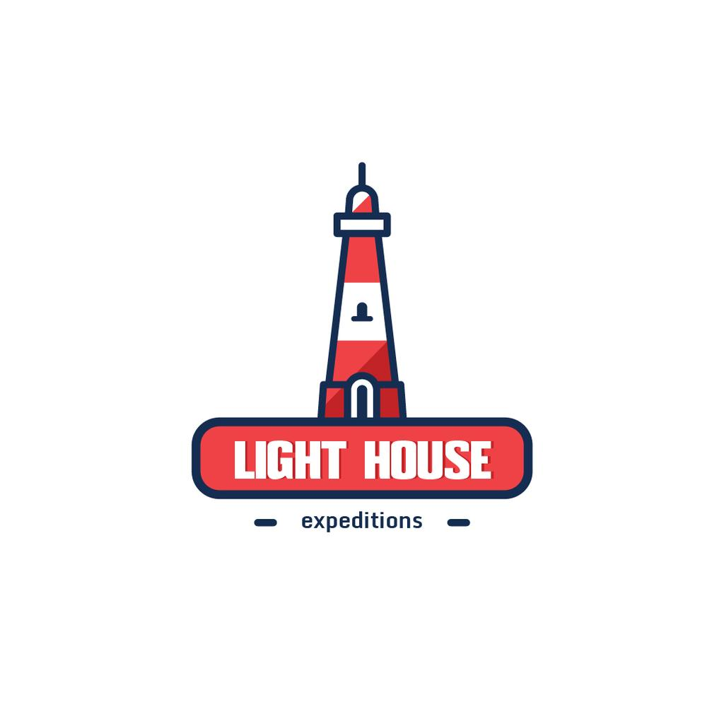 Travel Expeditions Offer Lighthouse in Red | Logo Template — Crea un design
